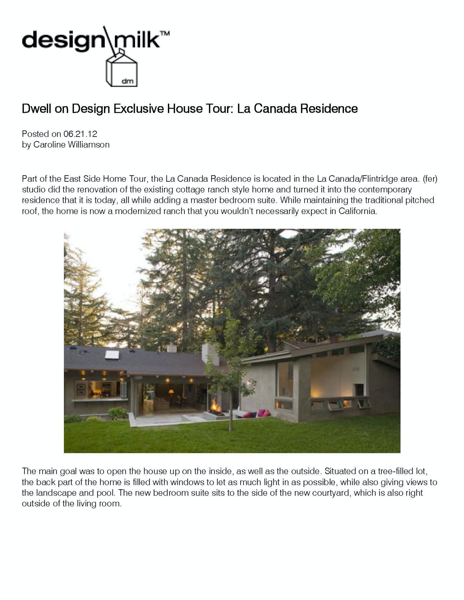 Dwell On Design Exclusive House Tour La Canada Residence