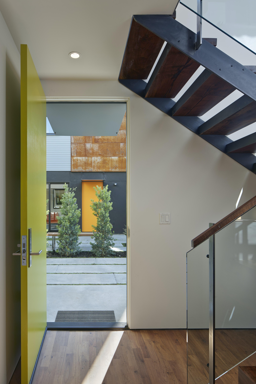 Builtform construction  steelhouse1 2 door stairs wood modern