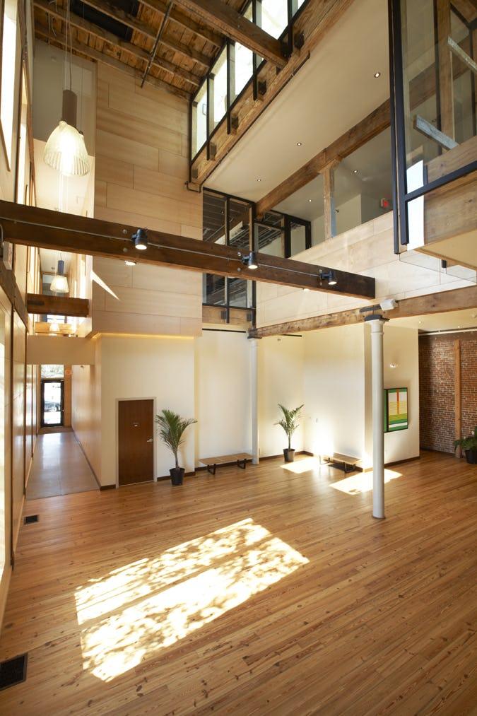 Fer the green building hallway