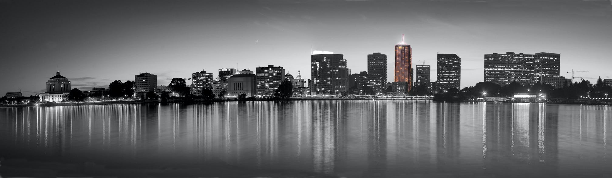 Night panorama print bw