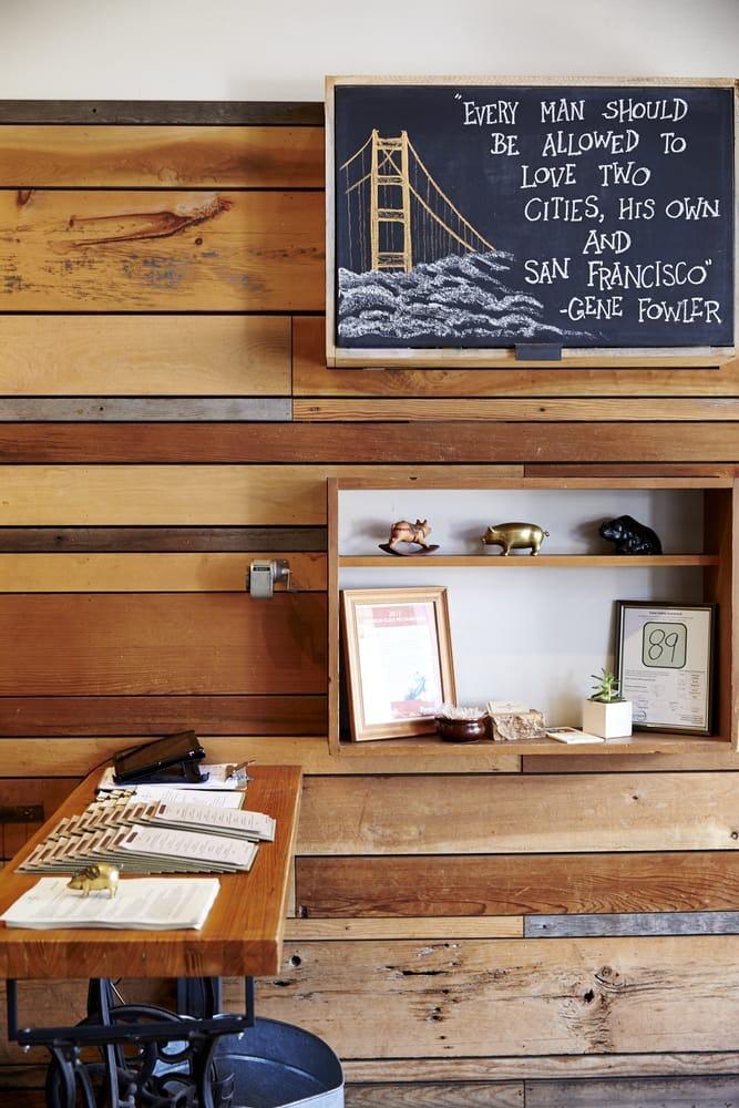Satrbelly builtform construction san francisco modern salvaged wood entry desk