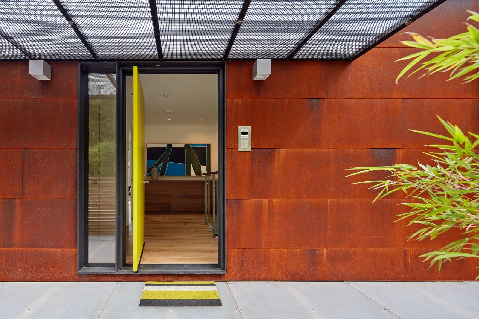 Builtform construction 441tamresidence detail open front door modern steel smaller