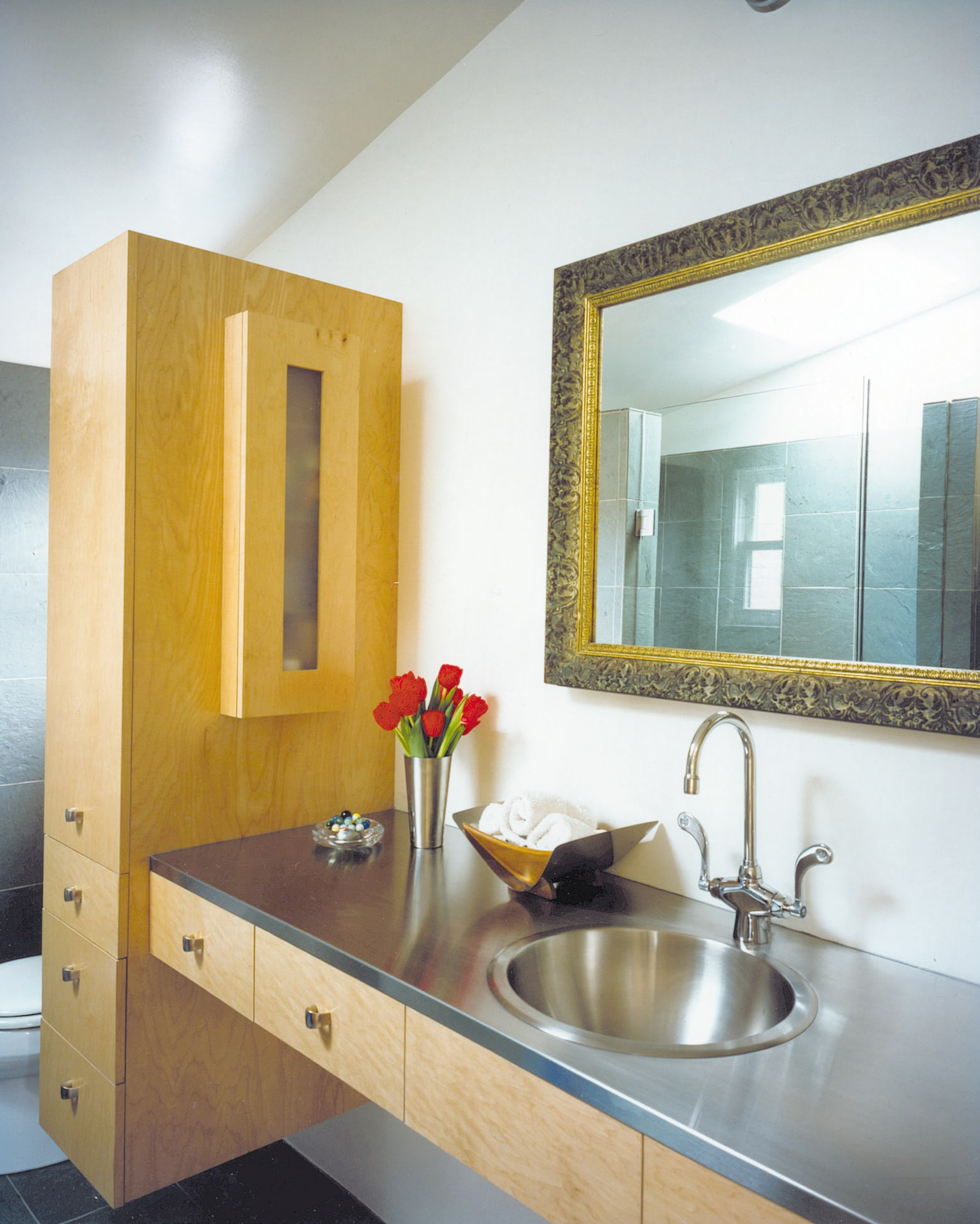 Builtform construction chenery bathroom modern steel wood mirror smaller copy