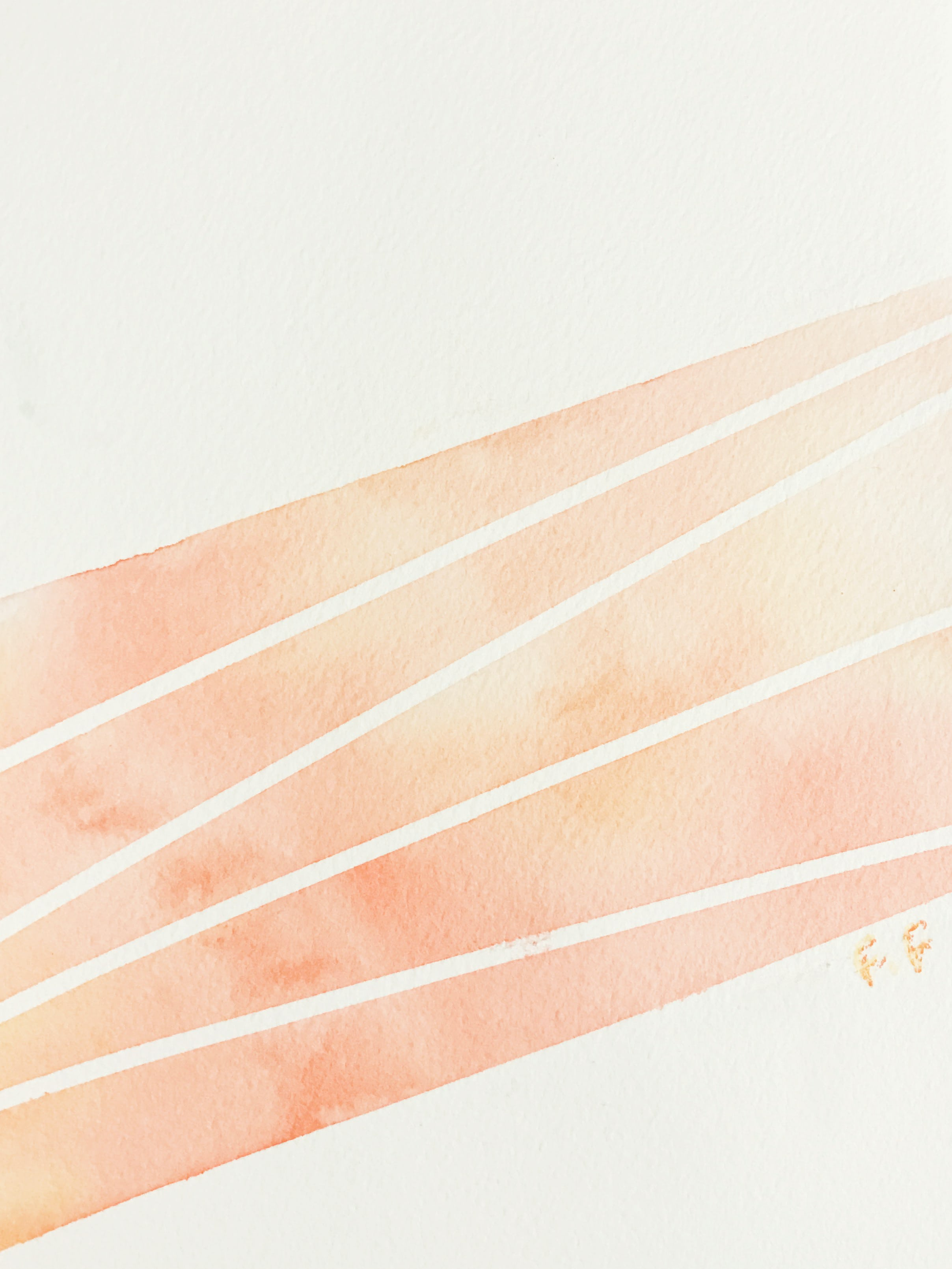 Feifei feng art watercolor abstract strips of sunset