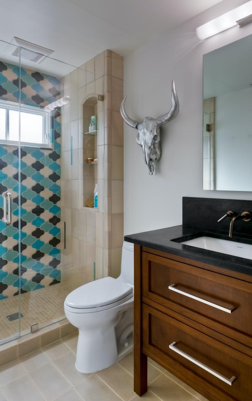 Studio karliova south court remodel interior design hall powder bath