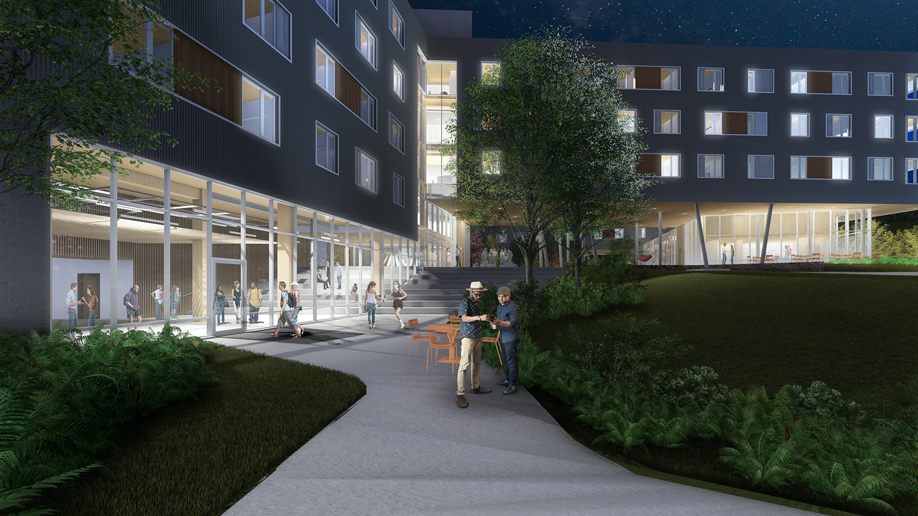 Uasdh rendering night south courtyard low res