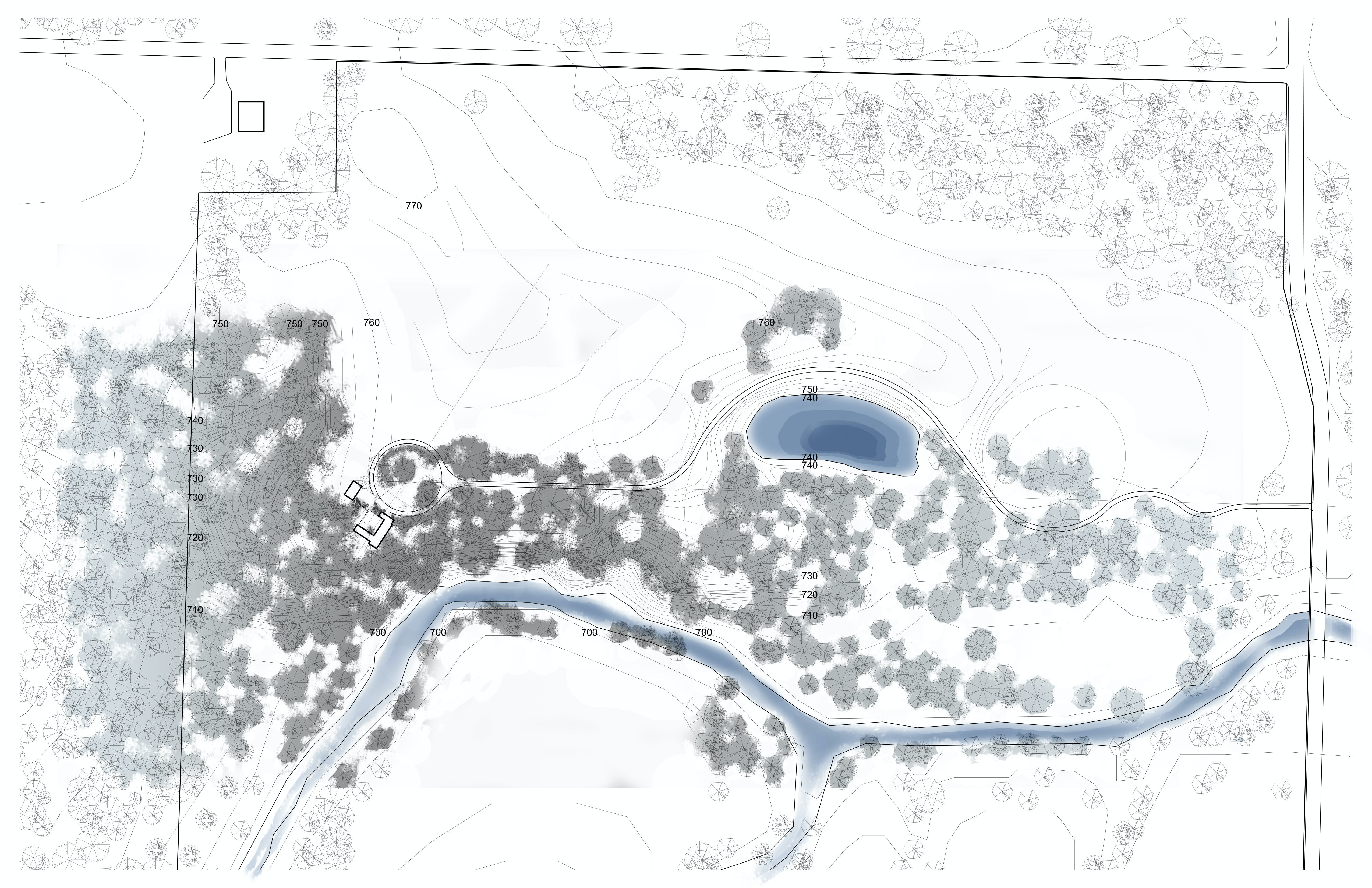 Site plan with water